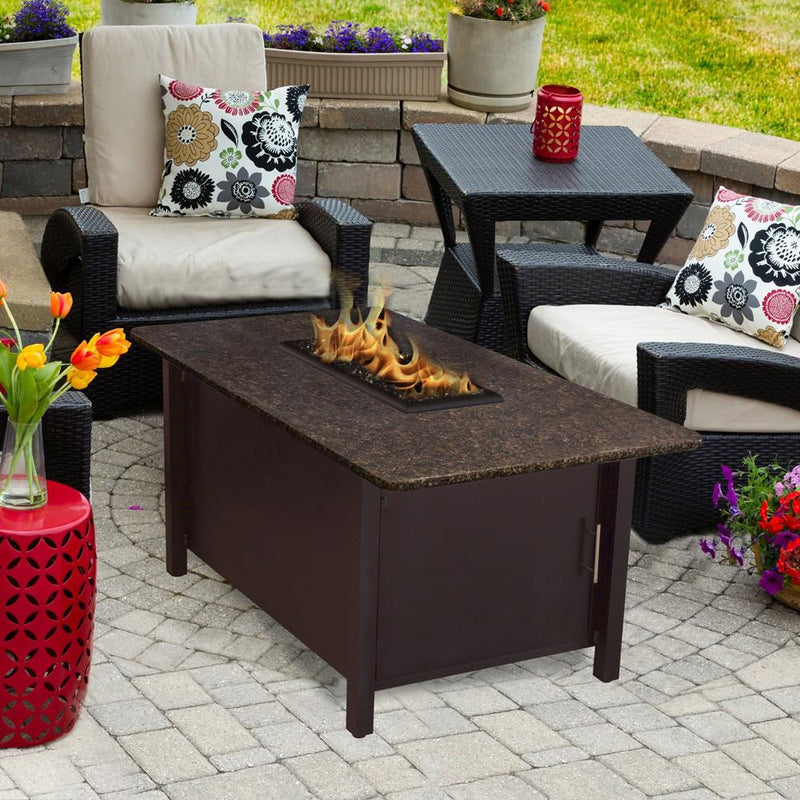 Carmel Chat Height Rectangle Fire Pit