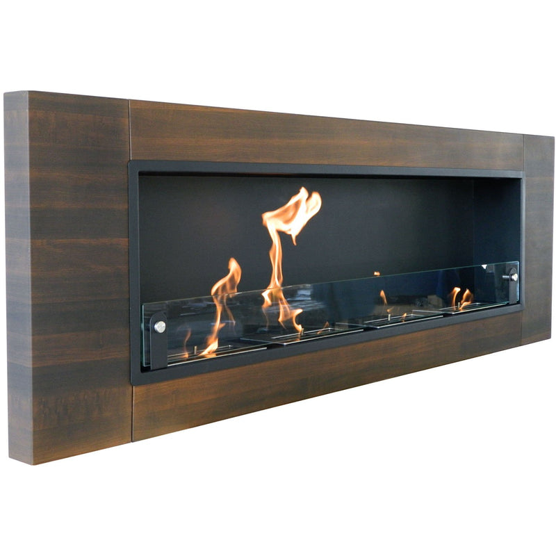 Nu-Flame Finestra Quattro 4 Burners Dark Walnut Wall Mounted Fireplace
