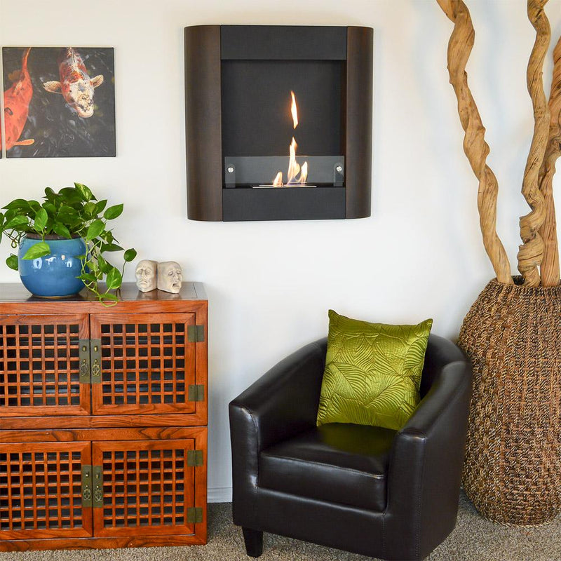 Nu-Flame Focolare Muro Noce Wall Mounted Ethanol Fireplace