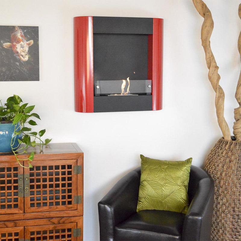 Nu-Flame Focolare Muro Rosso Wall Mounted Ethanol Fireplace