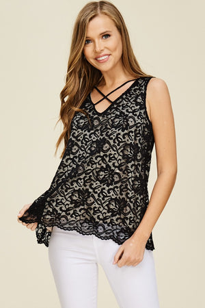 Roses in Lace Top - Black
