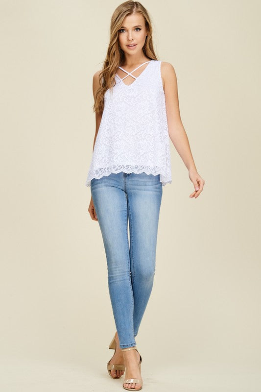 Roses in Lace Top - White
