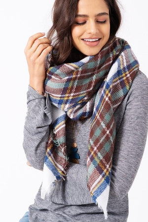 Blanket Scarf - White Mint