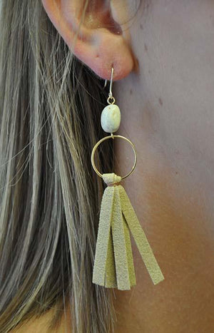 Leather & Stone Earrings
