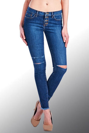 Button Fly Ankle Jeans