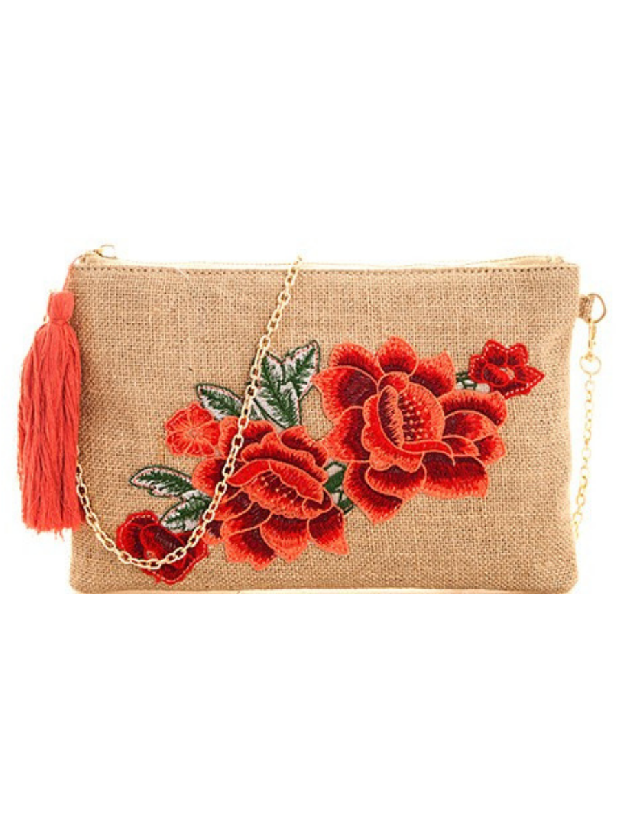 Woven Rose Clutch