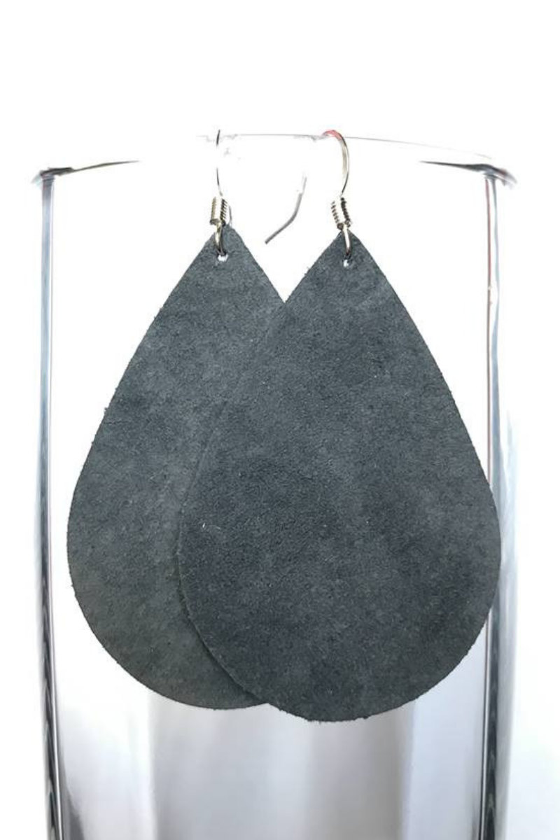 Gray Suede Love Earrings