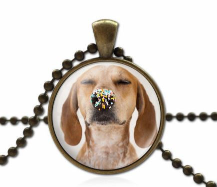 Statement Beads Chain Handmade Glass Dog Necklace