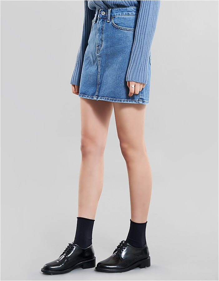 Wide Denim Skirt