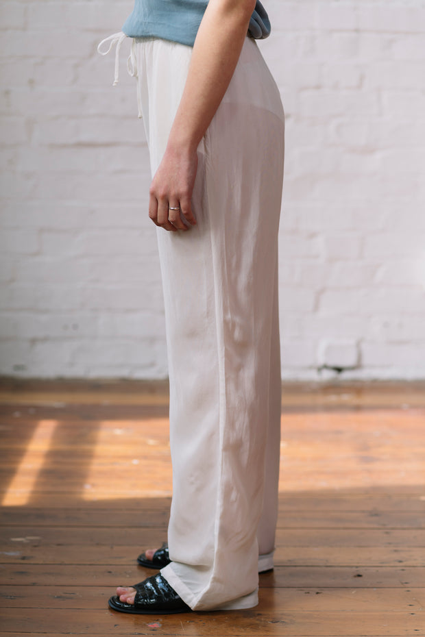 Cupro Drawcord Pants - Cream
