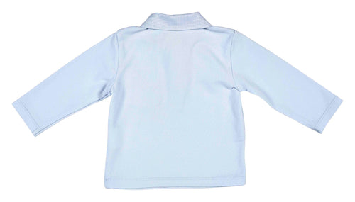Soft Collar Pale Blue Long Sleeve Top - 352-8596-20