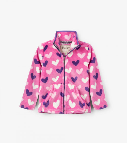 Multi Hearts Fuzzy Fleece Zip Up