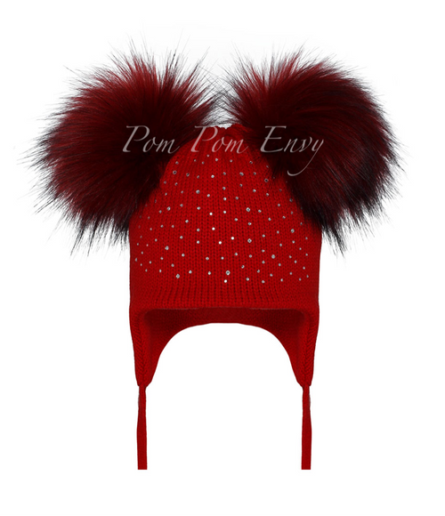 Faux Fur Double Pom Pom Hat - Red