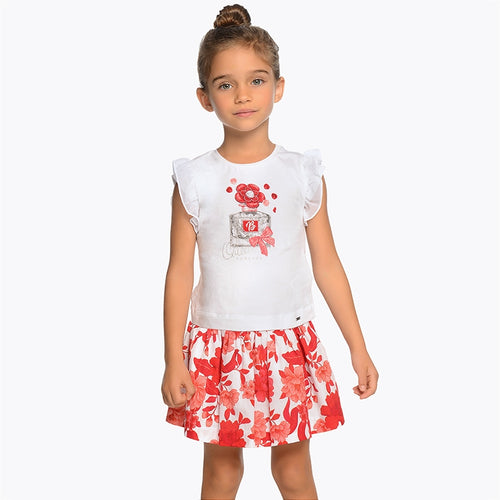 Floral T-shirt and Skirt Set - 3956-95