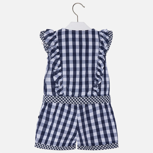 Navy Checked Playsuit - 3800-75