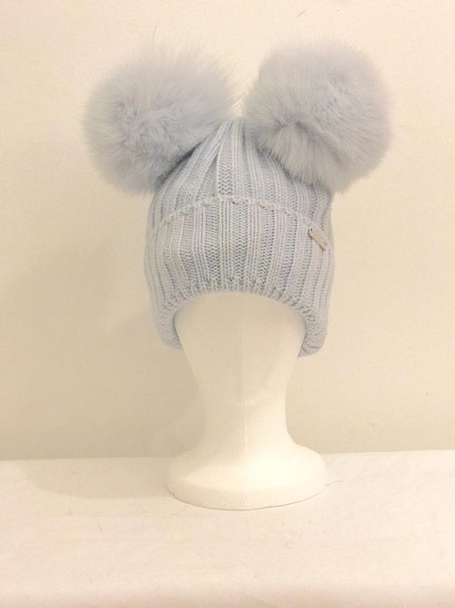 Double Pom Pom Hat - Blue