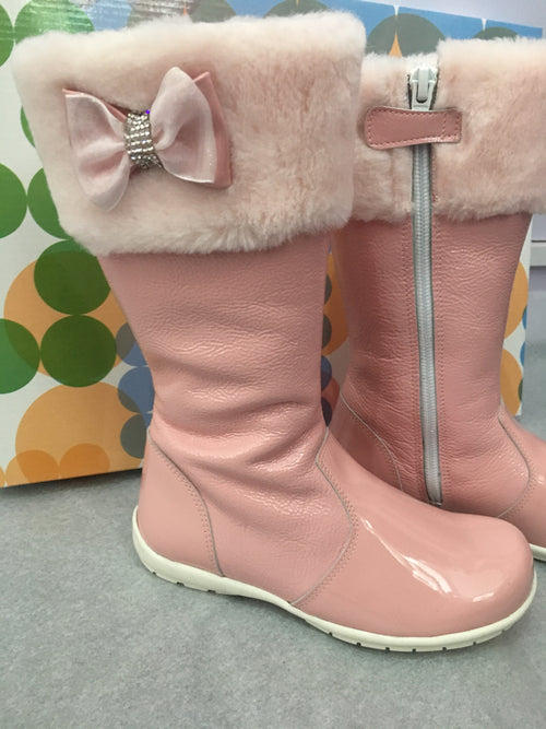 Charol Rosa Pink Tall Winter Boots