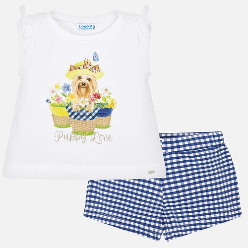 Summer Doggy Print T-shirt & Shorts Outfit - 3221-89