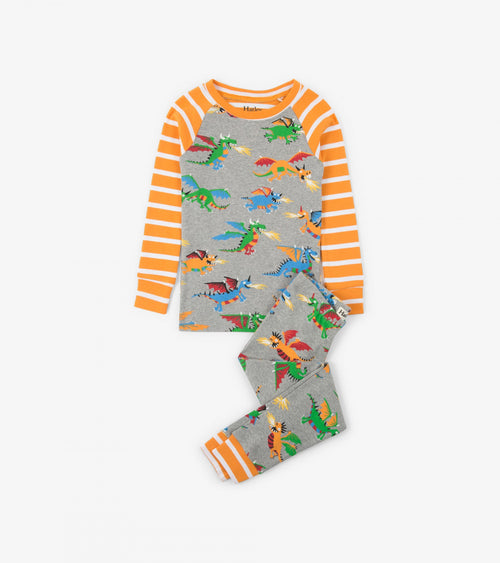 Fire Breathing Dragons Organic Cotton Raglan Pajama Set
