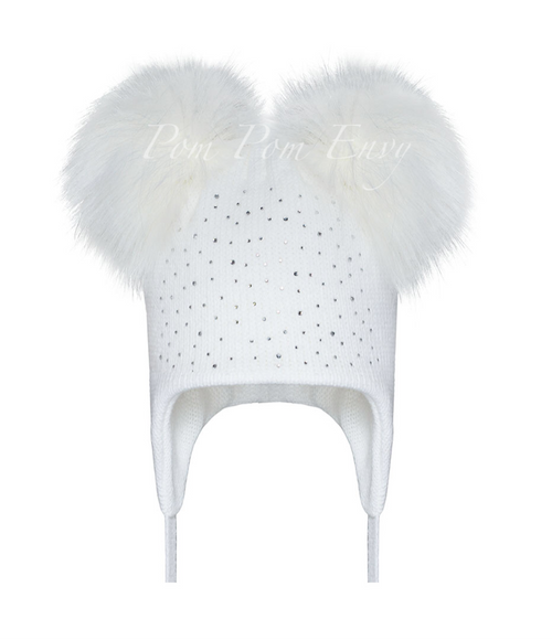 Faux Fur Double Pom Pom Hat - White