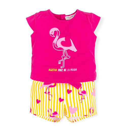 Flamingo Top and Shorts Outfit - 7102