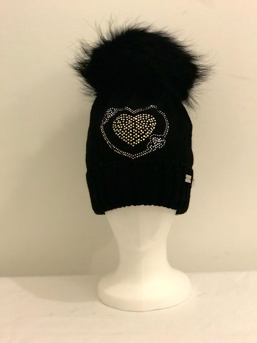Single Pom Pom Hat - Black