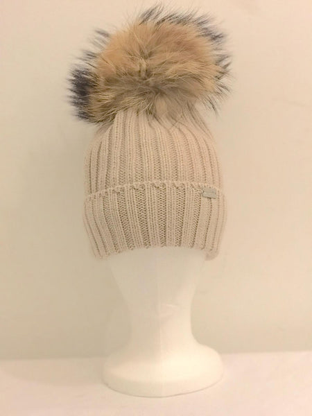 Single Pom Pom Hat - Beige