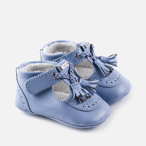 Leatherette Pram Shoes with Faux Fur Lining - 9918-81