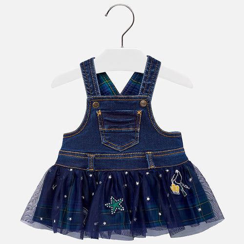 Tulle Denim Dungarees Dress - 2906-32