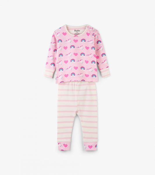Unicorns & Rainbows Organic Cotton Baby Pajama Set