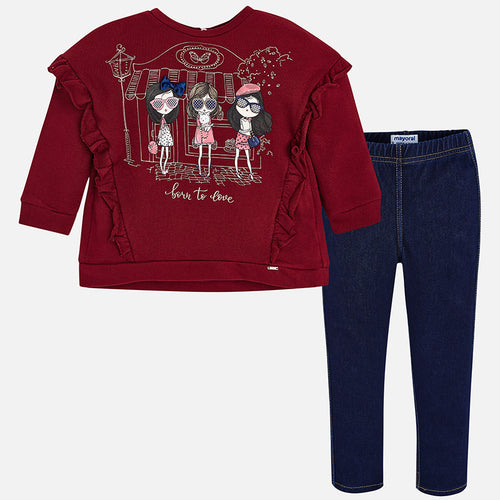 Girly Print Denim Leggings Set - 4714-17