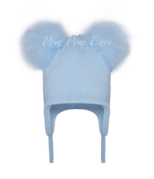 Faux Fur Double Pom Pom Hat - Pale Blue
