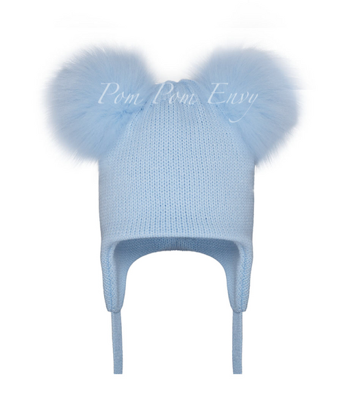 936f27452b9 Faux Fur Double Pom Pom Hat - Pale Blue – Lily and Roux