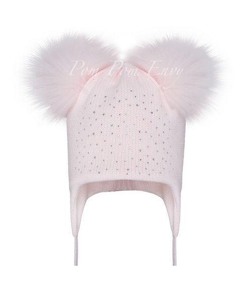 Faux Fur Double Pom Pom Hat - Pale Pink