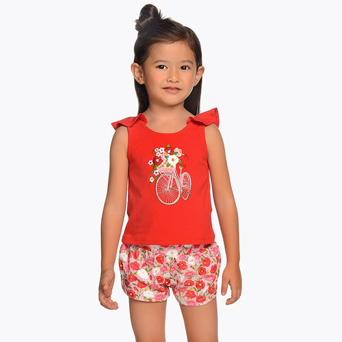 Summer Floral Shorts & T-shirt Outfit - 3219-65