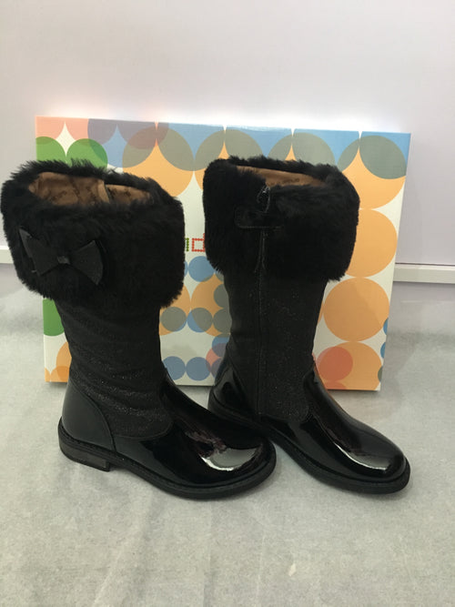 Charol Glitter Black Tall Winter Boots