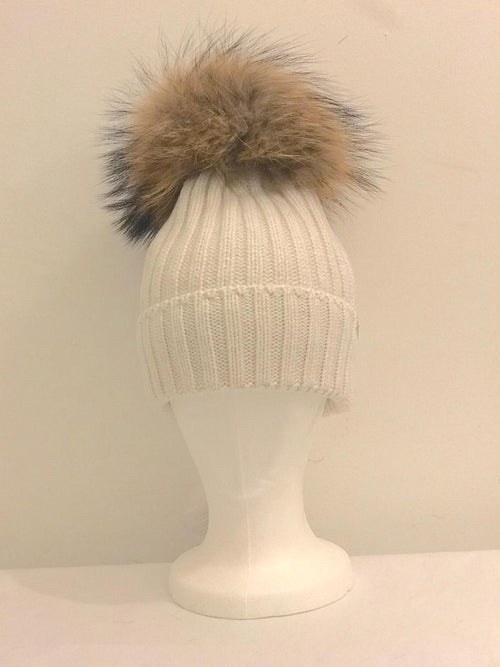 Single Pom Pom Hat - Cream