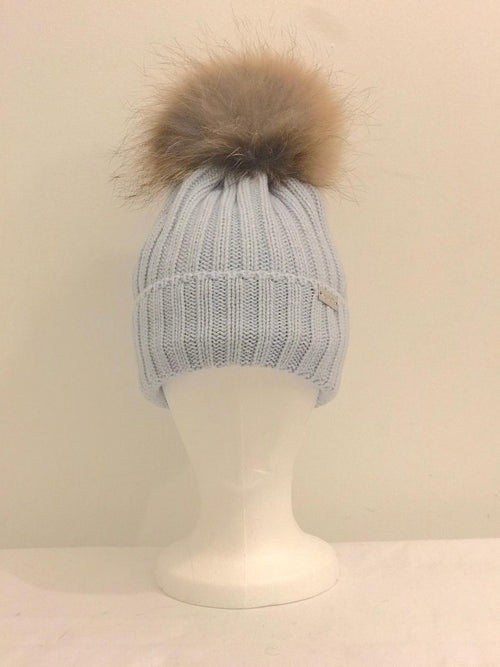 Single Pom Pom Hat - Blue