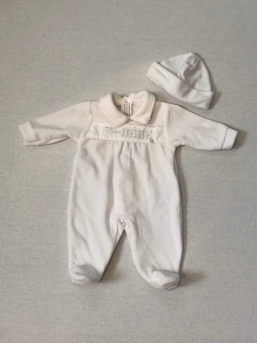 Neutral Velour Babygrow & Hat - A6059