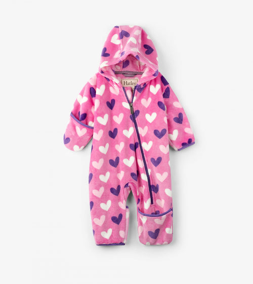 Multi Hearts Fuzzy Fleece Baby Bundler