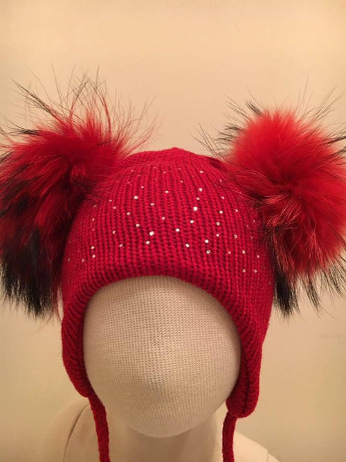 Double Pom Pom Hat - Red