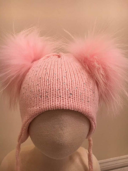 Double Pom Pom Hat - Pale Pink