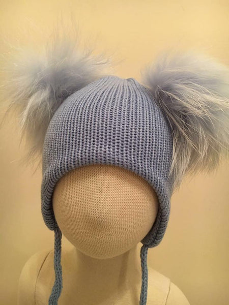 Double Pom Pom Hat - Pale Blue