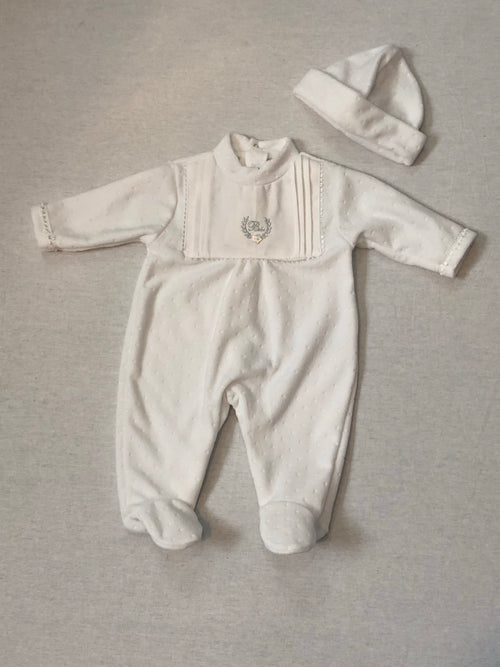 Neutral Velour Babygrow - A6057