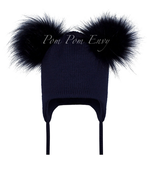 Faux Fur Double Pom Pom Hat - Navy