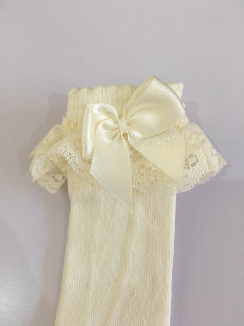 Knee High Socks with Lace/Bow - 56300-87