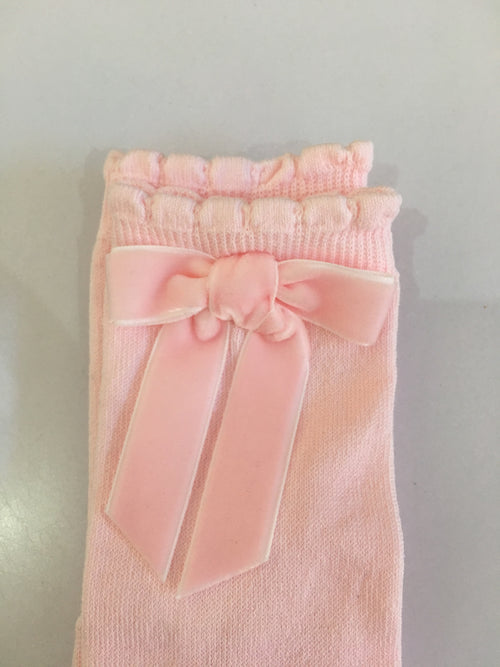 Knee High Socks with Velvet Bow - 55600-16