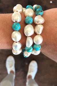Triple turquoise and pearl