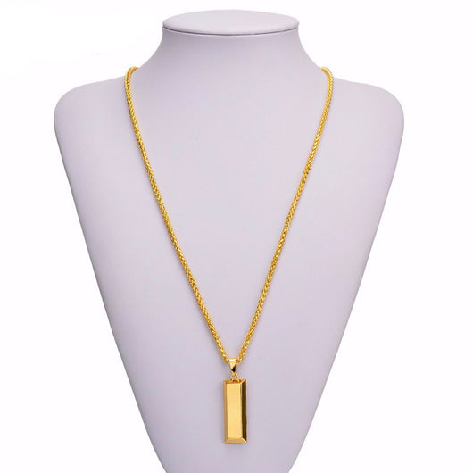 Gold bar necklace pendant jewelry chain free shipping gold bar necklace pendant jewelry chain free shipping mozeypictures Images