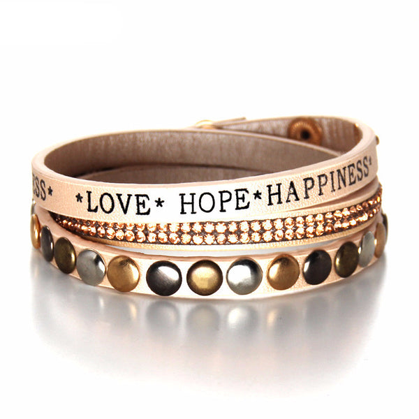 Love Hope Happiness Leather Warp